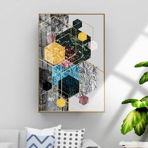 现代抽象几何金箔装饰画