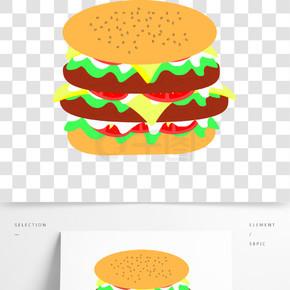 汉堡手绘两块肉汉堡