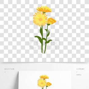 原创手绘油画质感菊花花束卡通