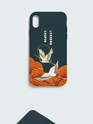 中国风手机壳仙鹤苹果