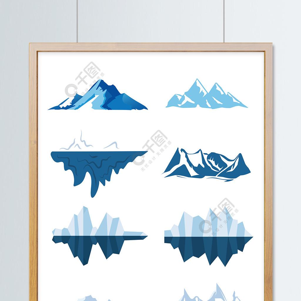 冰山背景手绘卡通雪山素材主图钻展背景