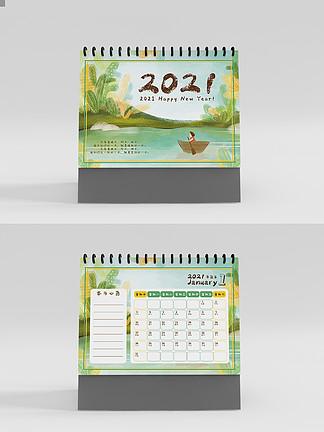 小清新手绘台历日历2021年台历