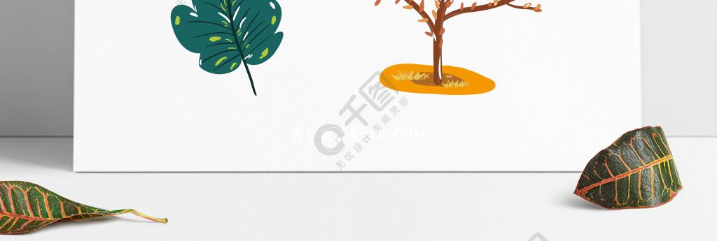 手绘秋季植物橡果树木