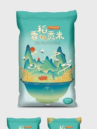 国潮插画风大米包装水稻山水大米插画包装袋