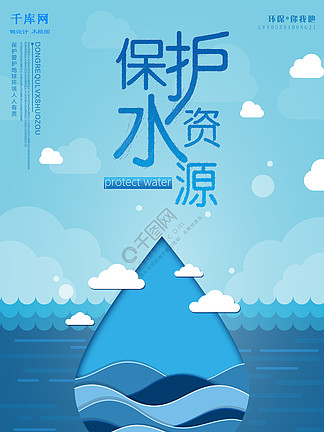 创意蓝色保护水资源防治水污染宣传海报