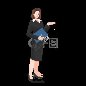 短发商务女性职业装文件夹
