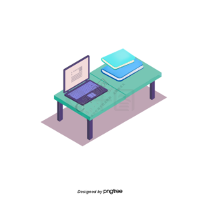 商务卡通绿色办公桌元素