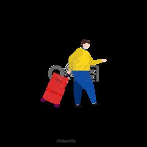 手绘肥胖男士拉行李箱