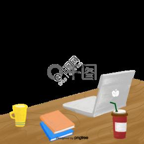 手绘书房电脑