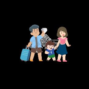 卡通风格一家人旅行