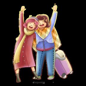 卡通带着行李箱的西方夫妻