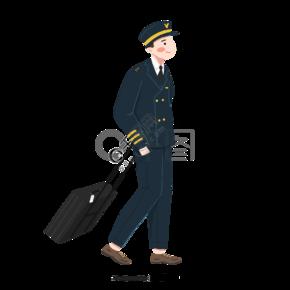 手绘拖着行李箱的机长