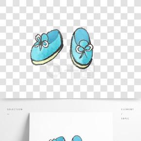 手绘蓝色母婴用品婴儿鞋设计