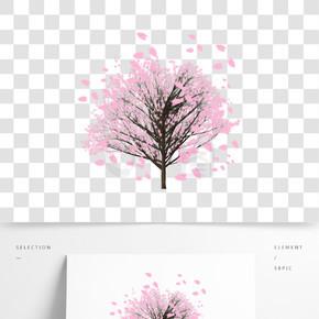 手绘植物樱花树樱花飞舞PNG图案