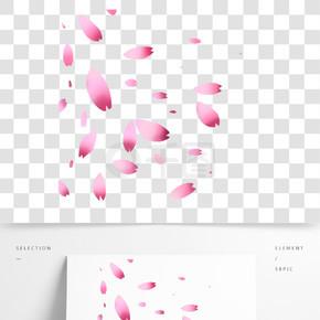 飘落的樱花瓣插画