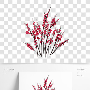 红色樱花插画装饰