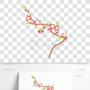 手绘樱花插画装饰