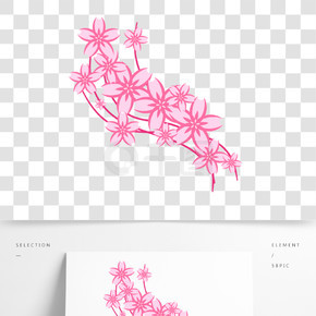矢量春天樱花装饰飘带