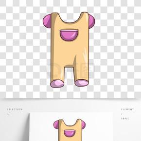 黄色婴儿服饰插画