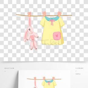 婴儿衣服和兔子插画