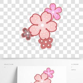 多彩粉色樱花瓣插画