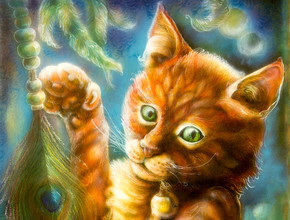 Beautiful fantasy colorful painting of a radiant orange cat head playing with a peacock feather, eye